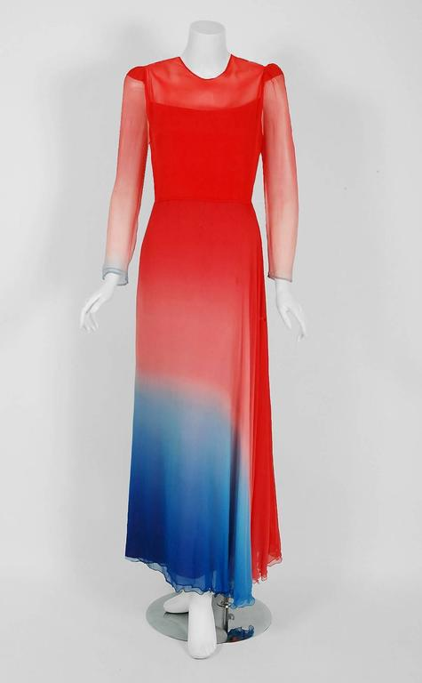 1977 Arnold Scaasi Couture Ombre Silk Chiffon Long-Sleeve Illusion Gown Ensemble 2