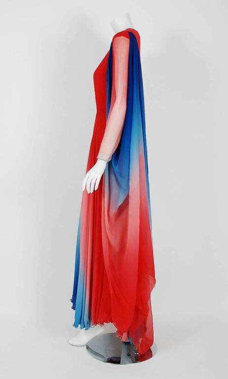 1977 Arnold Scaasi Couture Ombre Silk Chiffon Long-Sleeve Illusion Gown Ensemble 3