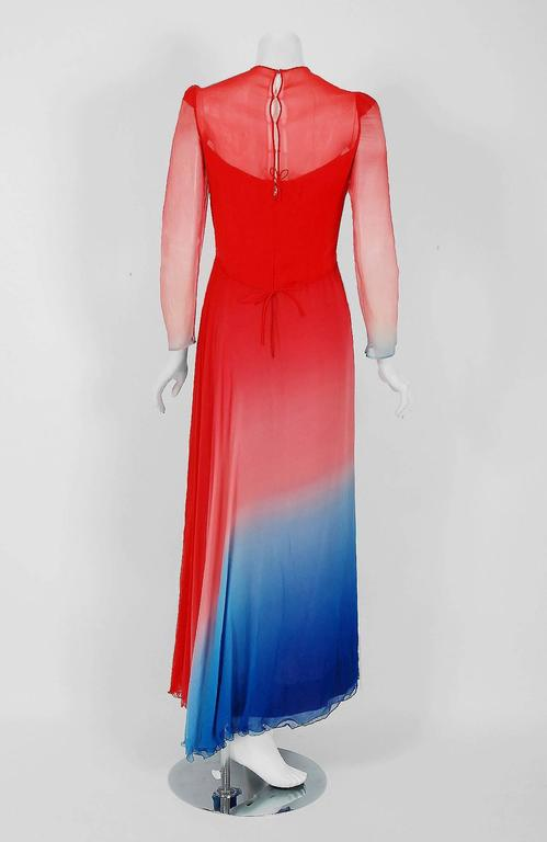 1977 Arnold Scaasi Couture Ombre Silk Chiffon Long-Sleeve Illusion Gown Ensemble 4