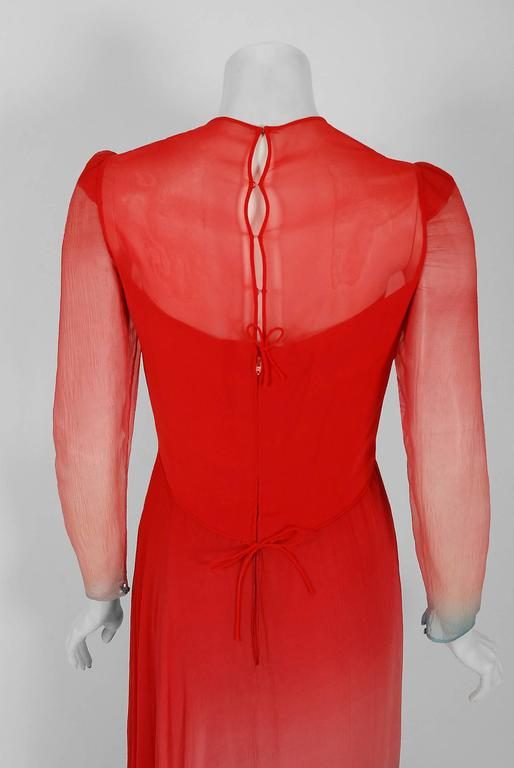 1977 Arnold Scaasi Couture Ombre Silk Chiffon Long-Sleeve Illusion Gown Ensemble 5
