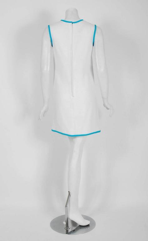1968 Pierre Cardin Documented White & Blue Linen Applique Space-Age Mod Dress 5