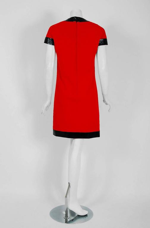 1969 Pierre Cardin Documented Red Wool & Black Vinyl Space-Age Mod Dress 6
