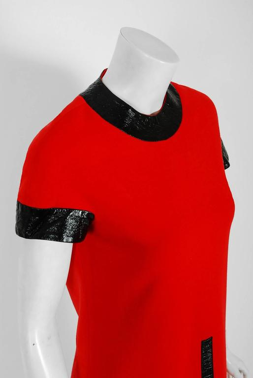 1969 Pierre Cardin Documented Red Wool & Black Vinyl Space-Age Mod Dress 4