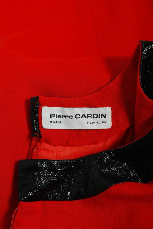 1969 Pierre Cardin Documented Red Wool & Black Vinyl Space-Age Mod Dress 7