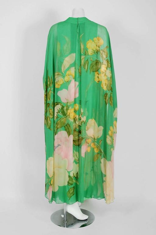 1970's Hanae Mori Couture Green Floral Garden Silk-Chiffon Caftan Dress Gown For Sale 1