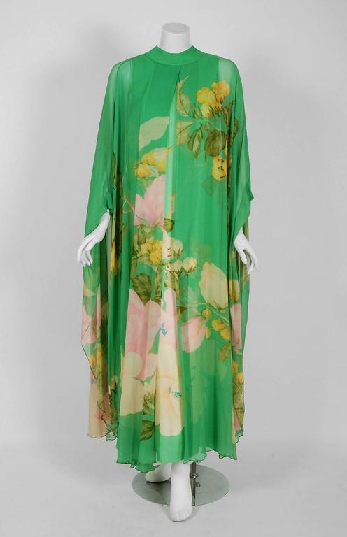 Gorgeous 1970's museum-quality, iconic and instantly recognizable caftan gown by Hanae Mori. Whilst on a Paris holiday in 1960, Mori had a fateful fitting with Coco Chanel. She claimed this meeting changed her life and she challenged herself to