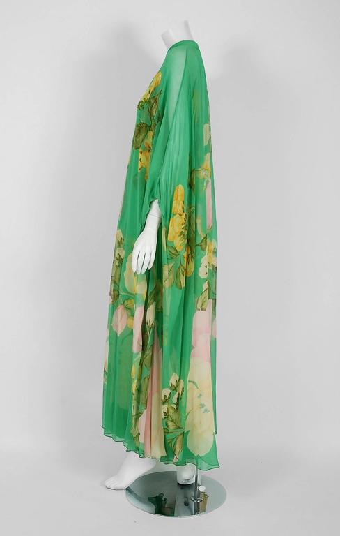 Women's 1970's Hanae Mori Couture Green Floral Garden Silk-Chiffon Caftan Dress Gown For Sale