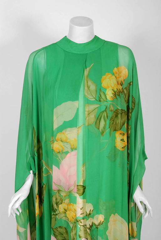 1970's Hanae Mori Couture Green Floral Garden Silk-Chiffon Caftan Dress Gown In Excellent Condition For Sale In Beverly Hills, CA