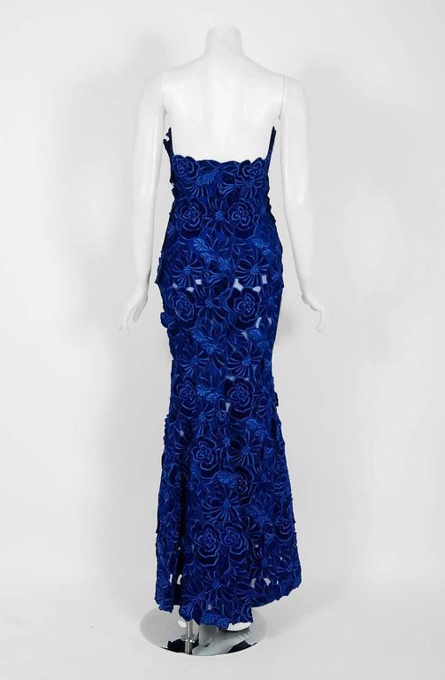 2015 Givenchy Haute-Couture Cobalt Blue Velvet Applique Strapless ...