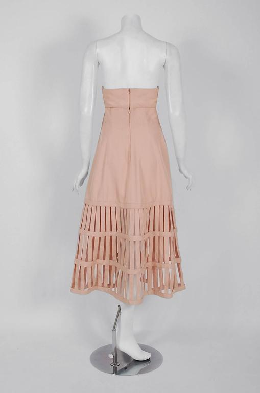Women's 1990's Valentino Pale-Pink Silk Strapless Plunge Birdcage Cut-Out Resort Dress