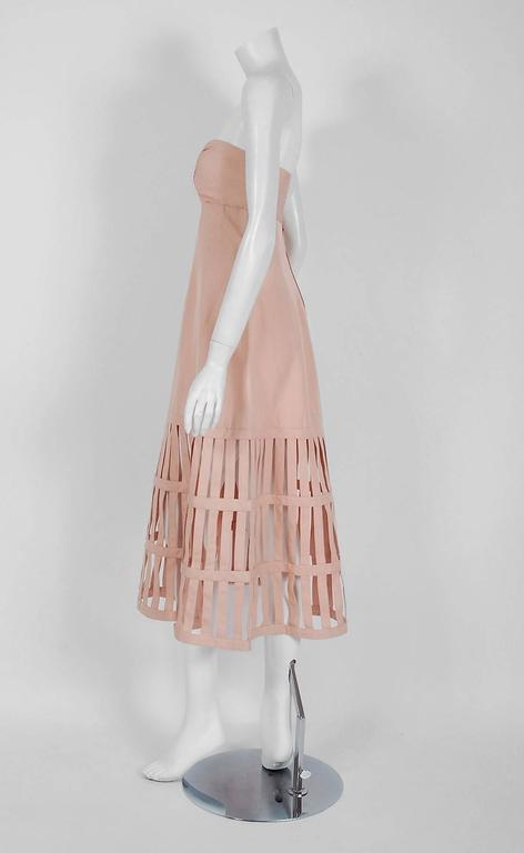 Beige 1990's Valentino Pale-Pink Silk Strapless Plunge Birdcage Cut-Out Resort Dress