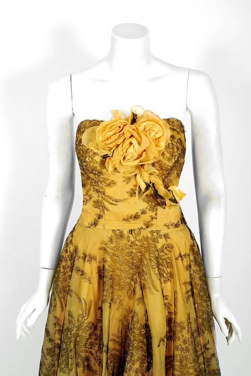 1950 S Sydonia Couture Yellow Silk Organza And Black