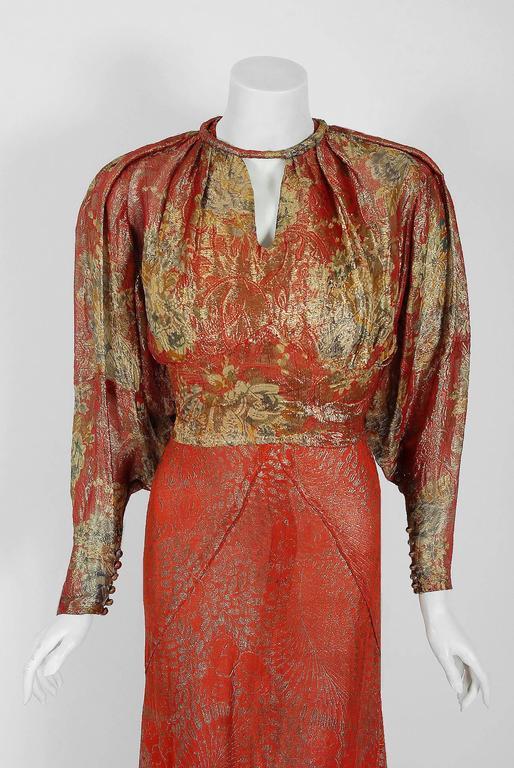 1930 S Couture Metallic Floral Print Lame Bias Cut Gown