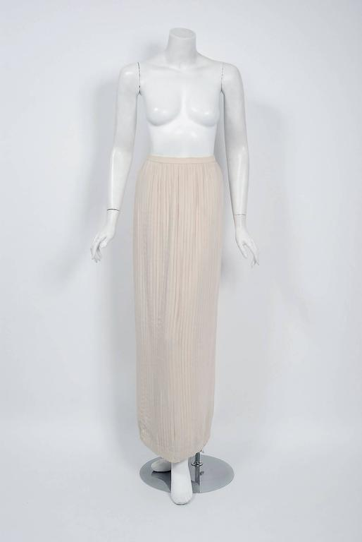1976 Chanel Haute-Couture Rare Beaded Lesage Silk Jacket & Pleated Dress Skirt 4