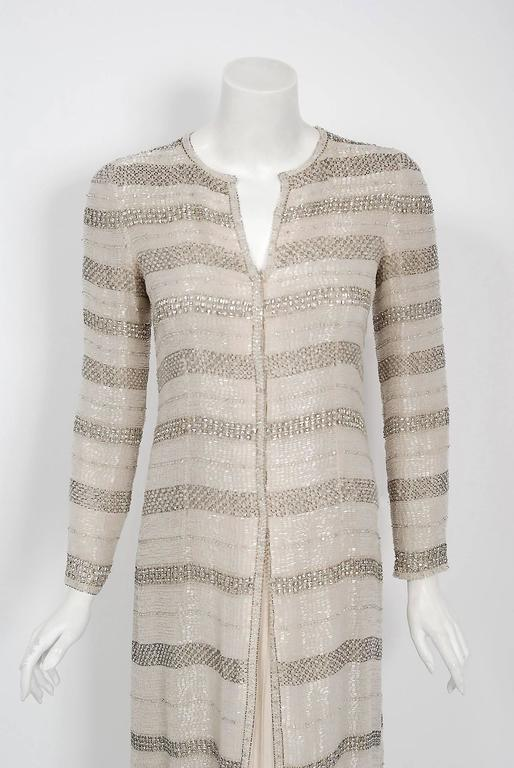 1976 Chanel Haute-Couture Rare Beaded Lesage Silk Jacket & Pleated Dress Skirt 3
