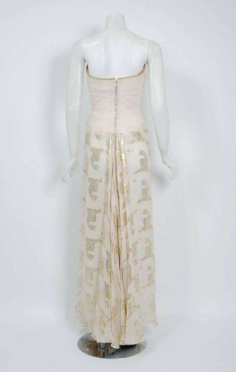 Vintage 1979 Bob Mackie Couture Metallic Ivory Gold Sari-Silk Strapless Gown For Sale 2