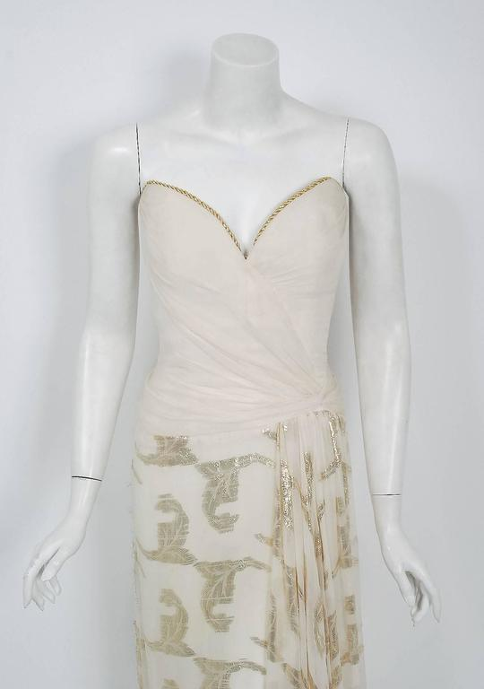 Vintage 1979 Bob Mackie Couture Metallic Ivory Gold Sari-Silk Strapless Gown In Good Condition For Sale In Beverly Hills, CA