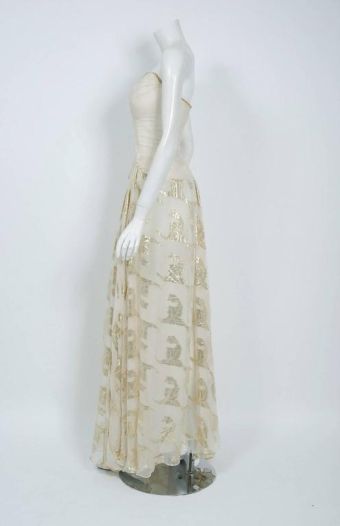 Vintage 1979 Bob Mackie Couture Metallic Ivory Gold Sari-Silk Strapless Gown For Sale 1