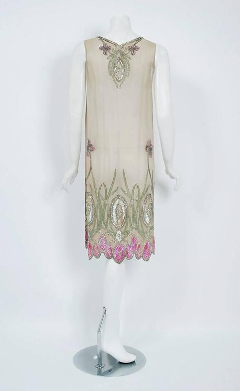 1920's Floral Garden Beaded Rhinestone Embroidered Silk-Chiffon Flapper Dress For Sale 1