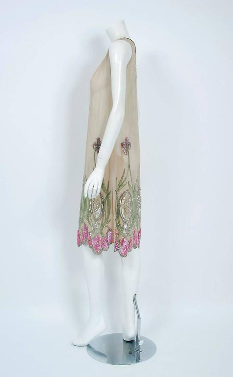1920's Floral Garden Beaded Rhinestone Embroidered Silk-Chiffon Flapper Dress In Excellent Condition For Sale In Beverly Hills, CA