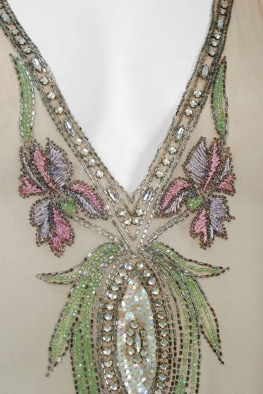 Beige 1920's Floral Garden Beaded Rhinestone Embroidered Silk-Chiffon Flapper Dress For Sale
