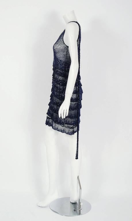 1920's Opulent Sapphire-Blue & Black Beaded Sheer Net Tiered Deco Flapper Dress 4