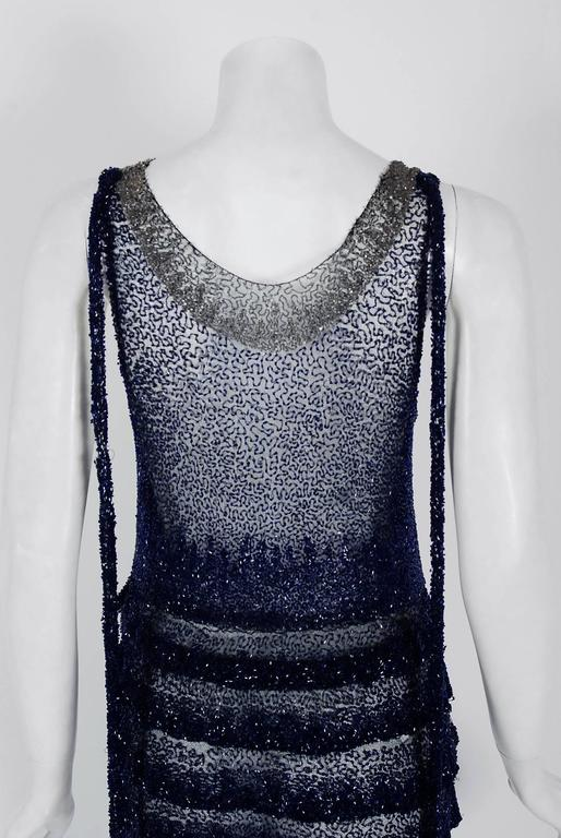 1920's Opulent Sapphire-Blue & Black Beaded Sheer Net Tiered Deco Flapper Dress 6