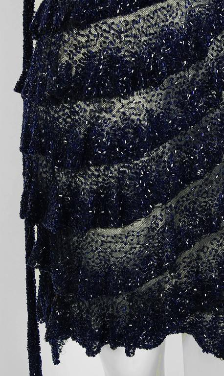 1920's Opulent Sapphire-Blue & Black Beaded Sheer Net Tiered Deco Flapper Dress 3