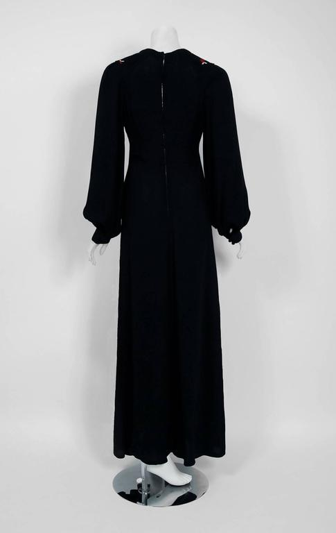 1970's Ossie Clark Embroidered Key-Hole Black Crepe Billow Sleeve Maxi Dress 5