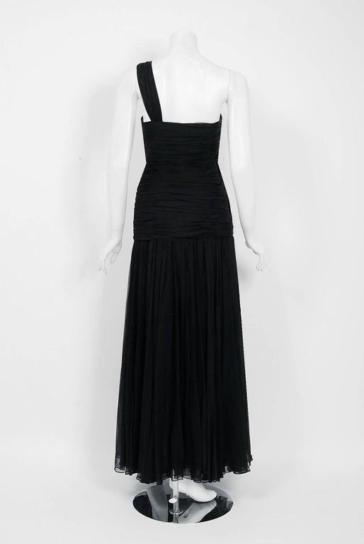 Women's 1970's Adele Simpson Black Draped Silk Chiffon One-Shoulder Goddess Dress Gown For Sale