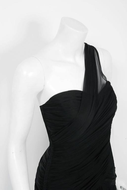1970's Adele Simpson Black Draped Silk Chiffon One-Shoulder Goddess Dress Gown In Excellent Condition For Sale In Beverly Hills, CA