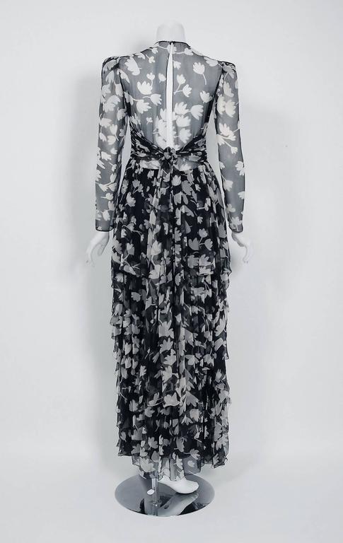 Women's 1982 Galanos Couture Black White Floral Print Chiffon Long-Sleeve Tiered Gown  For Sale