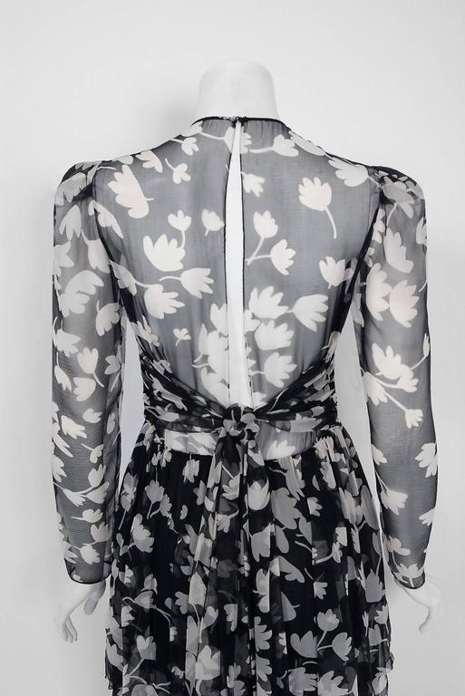 1982 Galanos Couture Black White Floral Print Chiffon Long-Sleeve Tiered Gown  For Sale 1