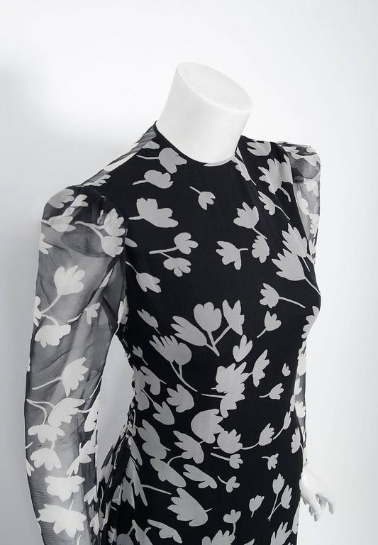1982 Galanos Couture Black White Floral Print Chiffon Long-Sleeve Tiered Gown  In Excellent Condition For Sale In Beverly Hills, CA