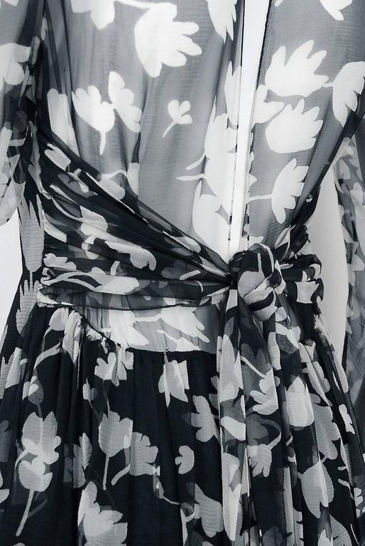 1982 Galanos Couture Black White Floral Print Chiffon Long-Sleeve Tiered Gown  For Sale 2