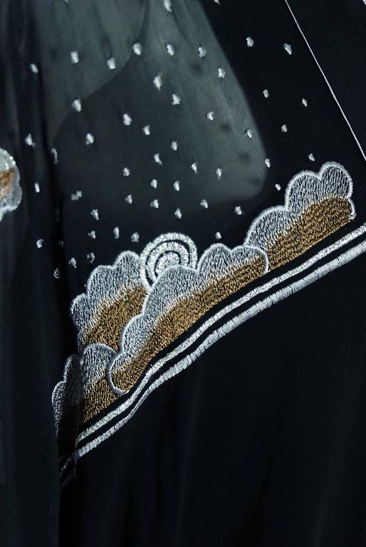 1972 Janice Wainwright Black Chiffon Novelty Sun & Rain Embroidery Caftan Dress 4