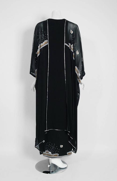 1972 Janice Wainwright Black Chiffon Novelty Sun & Rain Embroidery Caftan Dress 6