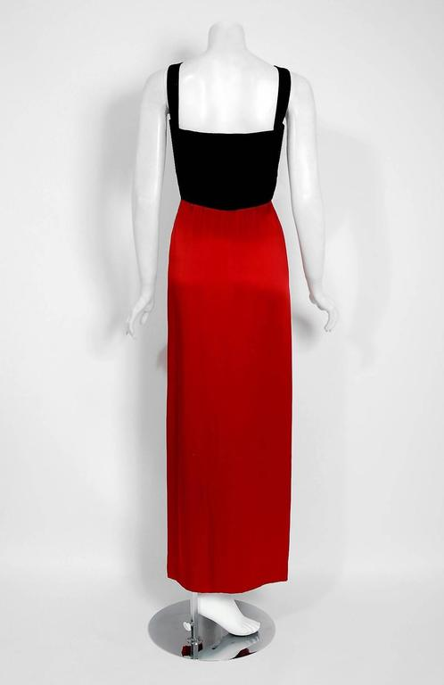 1994 Yves Saint Laurent Documented Red Silk & Black Velvet Cut-Out Plunge Gown 6