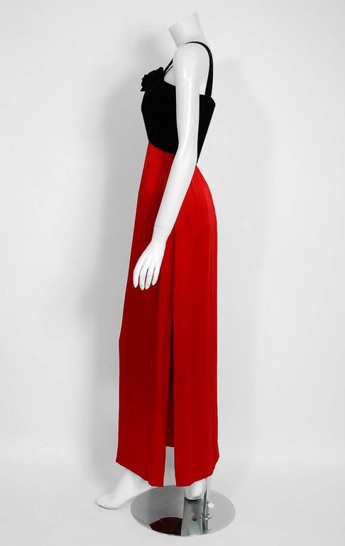 1994 Yves Saint Laurent Documented Red Silk & Black Velvet Cut-Out Plunge Gown 5