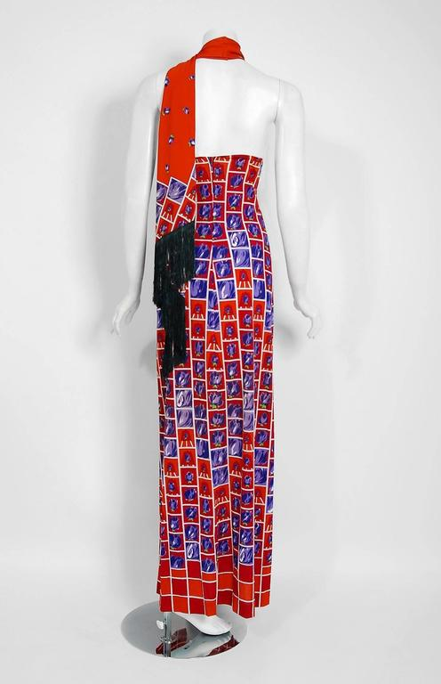Vintage 1970's Italian Orange & Purple Graphic Rose Print Jersey Maxi Dress For Sale 1