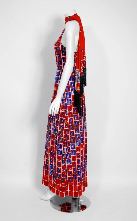 Brown Vintage 1970's Italian Orange & Purple Graphic Rose Print Jersey Maxi Dress For Sale