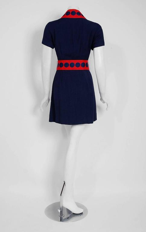 Women's 1960's Richard Frontman Navy & Red Silk Linen Graphic Space-Age Belted Dress For Sale