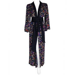 1977 Yves Saint Laurent Haute-Couture Colorful Silk Print Belted Kimono Jacket
