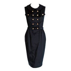 1990's Chanel Black Cotton Double-Breasted Military Belted Hourglass Dress