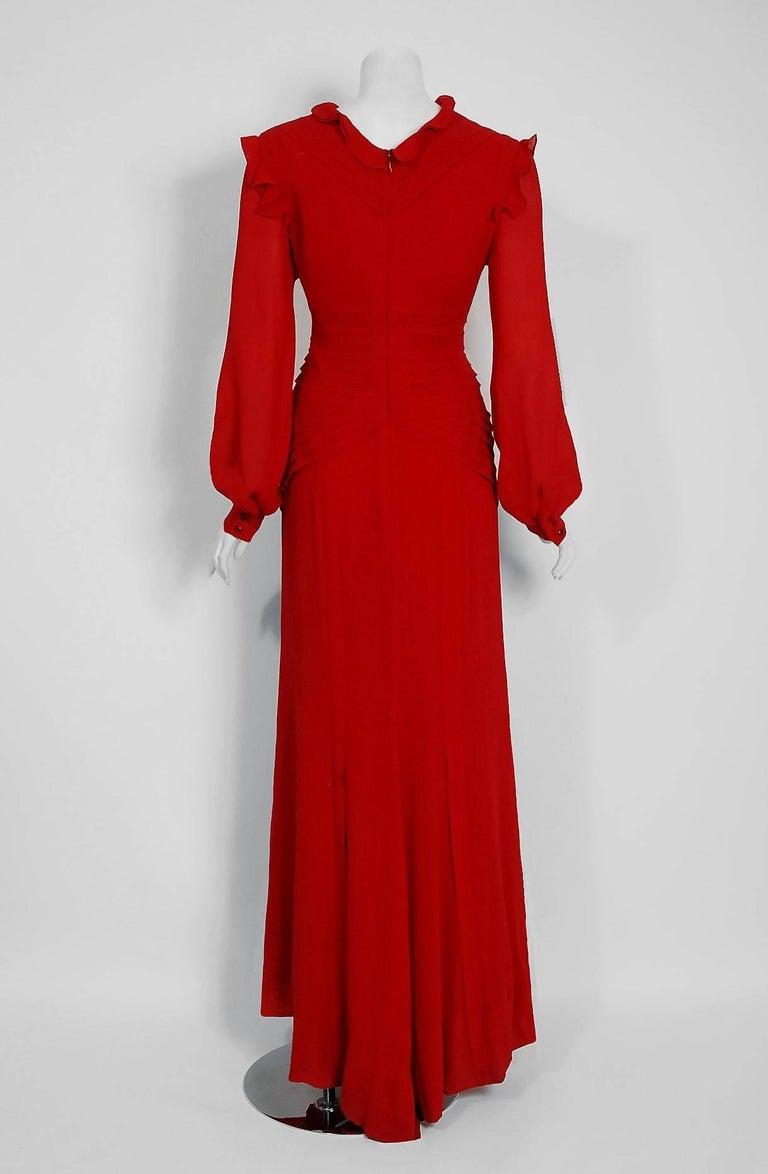 2005 Carolina Herrera Ruby-Red Silk Ruffle Plunge Billow-Sleeve Full Length Gown 6