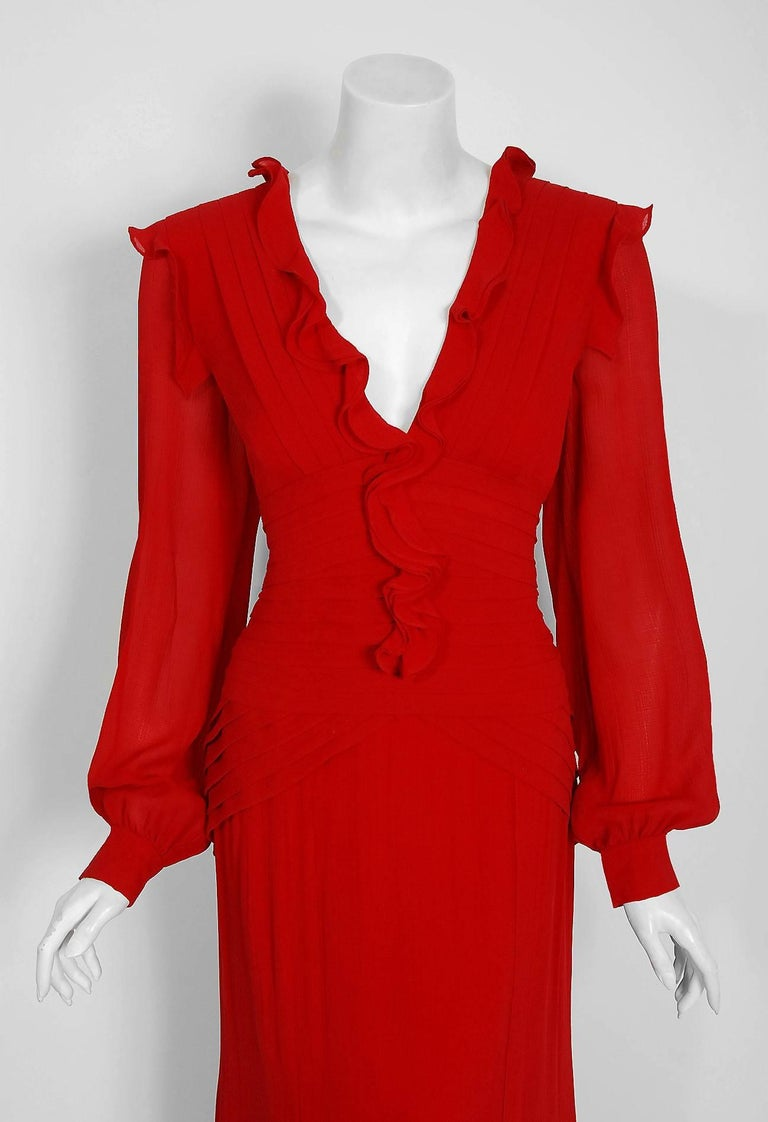 2005 Carolina Herrera Ruby-Red Silk Ruffle Plunge Billow-Sleeve Full Length Gown 2