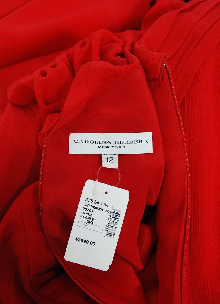 2005 Carolina Herrera Ruby-Red Silk Ruffle Plunge Billow-Sleeve Full Length Gown 7