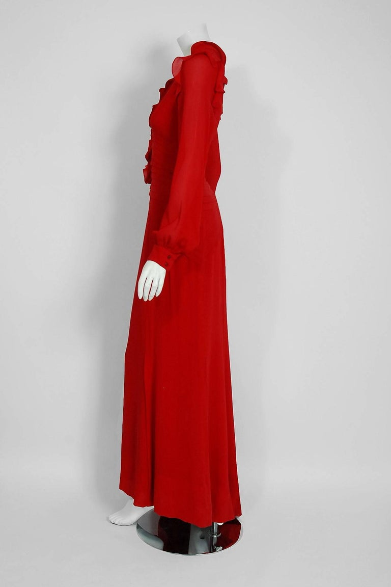 2005 Carolina Herrera Ruby-Red Silk Ruffle Plunge Billow-Sleeve Full Length Gown 5