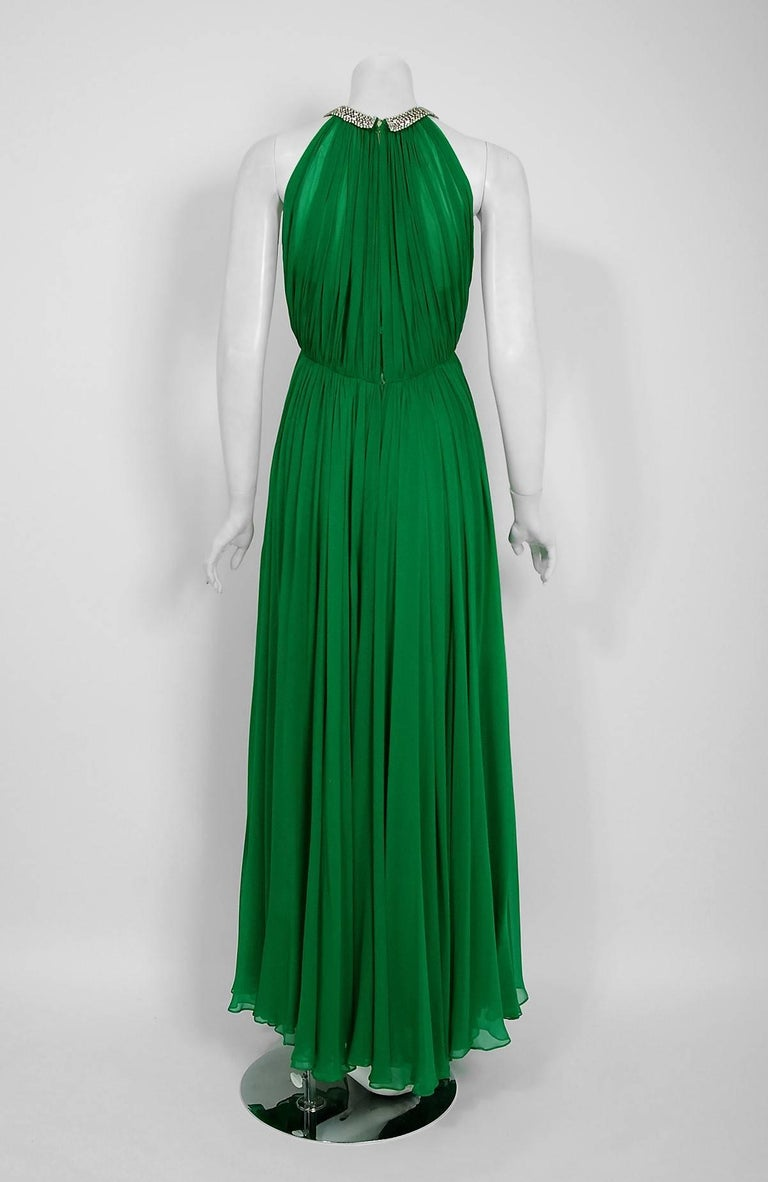 Women's 1960's Malcolm Starr Emerald-Green Draped Silk Chiffon Rhinestone Goddess Gown  For Sale