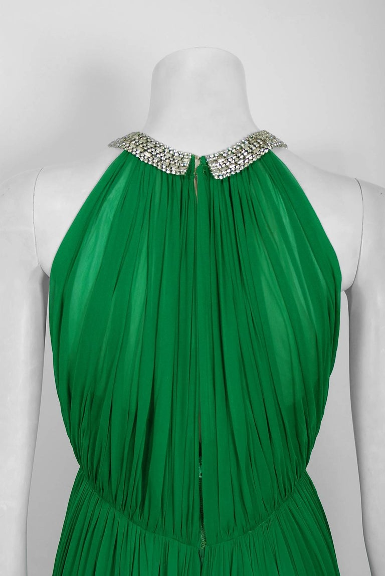 1960's Malcolm Starr Emerald-Green Draped Silk Chiffon Rhinestone Goddess Gown  5